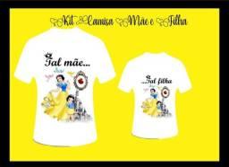 Kit Camisa Mãe e Filha Tema Princesas