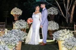 Vendo Vestido de Noiva - Moderno em Renda
