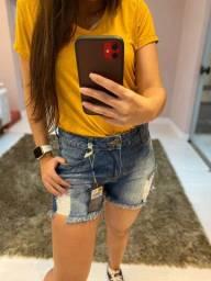 (3) Grades Shorts Jeans feminino