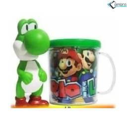 Boneco Yoshi + Caneca - Super Mario Bros - Loja Coimbra Computadores
