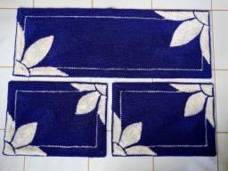 Jogo tapete de cozinha - modelo flor 3pçs -frufru