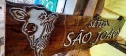 Título do anúncio: Fabrico placas de madeira entalhes para chácaras sítios e fazendas WhatsApp *
