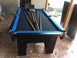 Mesa de Redinha | Mesa Preta | Tecido Preto | Borda Azul | Modelo: JNZB2740