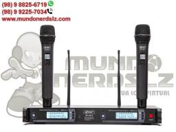 Kit Dois Microfone sem Fio UHF com Base Receptora Knup KP-U913 em São Luís MA
