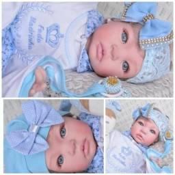 Bebê Reborn - Boneca Menina Azul Loira