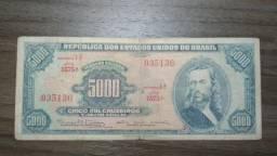 Cédula Brasil - 5 mil cruzeiros 1964 - BC - Tiradentes