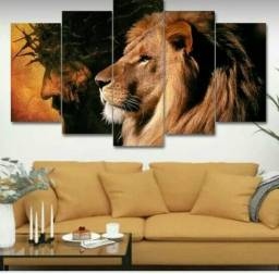 Quadro para sala jesus leão de juda 5 peças mosaico Mdf top