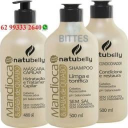 Mandioca e Baba de Quiabo Natubelly Cosméticos Reconstrução Hidratação Cauterização Capila
