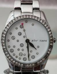 62d5801b052 Relógio Betsey Johnson Crystal Prata Original