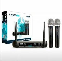 Microfone Sem Fio Duplo VWS-20 Plus Bivolt - Vokal VHF