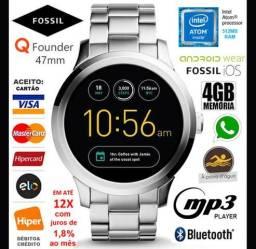 "Smartwatch Fossil Q Founder 47mm, 4GB, Intel, LCD 1.5"", Android e iOS, Novíss, Cx, NF, Gar"