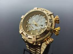 Relógio Masculino dourado thunderbolt