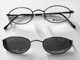 Armação, óculos com clip solar