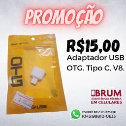 Adaptador OTG USB, Tipo C ou V8.