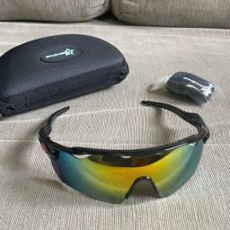 Título do anúncio: Óculos de ciclismo preto com detalhe vermelho e lente camaleão - Bike