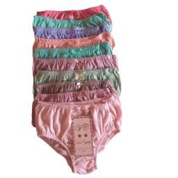 Kit 10 calcinhas infantil de algodão, simples e confortável, preço de atacado.