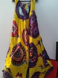 Vestido indiano trapézio 100% viscose amarelo estampado Tamanho M