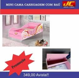 Mini cama carruagem com baú b