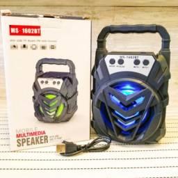Caixa De Som Portátil Bluetooth Ms-1602bt Radio Fm Usb