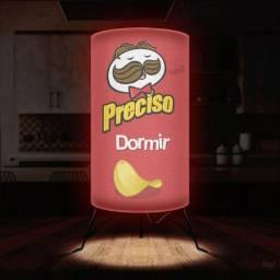 Luminária Abajur Pringles Preciso Dormir