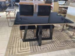 Título do anúncio: Mesa black de madeira maciça e acabamento laka