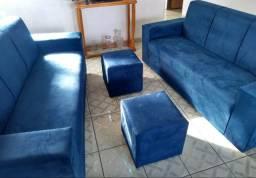 Jogo de sofá de 3 e 3 lugares.