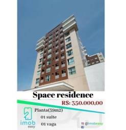 Space residence 1 suíte, mobiliado, andar alto