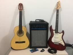Guitarra, violão e caixa amplificada