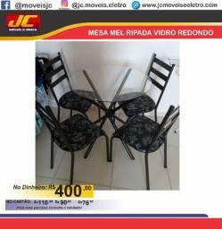 Mesa Mel com vidro e 4 cadeiras b