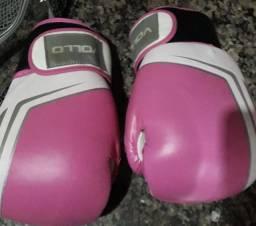 Luva De Boxe Vollo Tam 14 Rosa +Bandagem Rudel Elástica 50mm 3metros ROSA