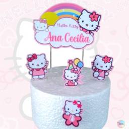 Topo de Bolo Personalizado Hello Kitty para Festa