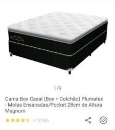 Cama Box de Casal Plumatex Mola Ensacadas/Pocket - NOVA