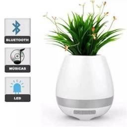 Caixa Som Bluetooth Vaso De Planta C/ Luminária Abajur Led. Produto Novo. ( Rosa)