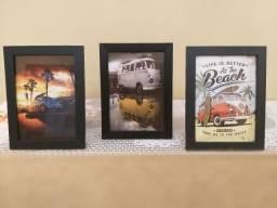 Conjunto de 3 quadros decorativos Com Vidro