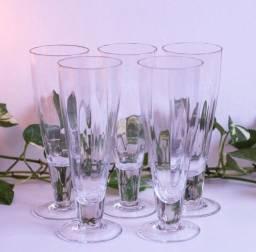 Título do anúncio: Taças de cristal longas - antigas anos 60 - vidro canelado