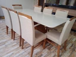 Título do anúncio: Mesa nova de madeira e acabamento laka de 8 lugares