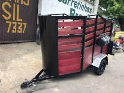 Carretinha para trasporte de 2 cavalos 1 eixo