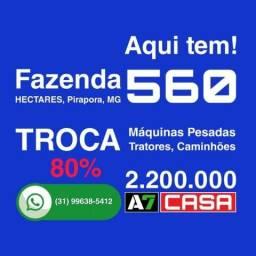 Troca Fazenda 560 Hectares, por (Máquinas, Tratores, Caminhões, Carretas e Veículos), MG
