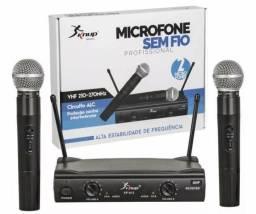 Microfone sem fio duplo vhf profissional knup kp-912