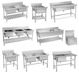 Toda linha de cozinhas, mesas, pias em inox