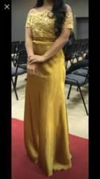 Vestido longo de festa dourado