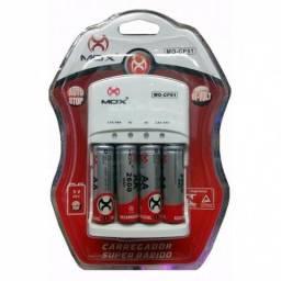 Carregador Mox Com 4 Pilhas Aa Recarregáveis 2600 Mah Mo-cp51 Novo Garantia Frete Grátis