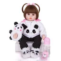 Bebê Reborn Panda 48cm Realista Corpo Tecido Membro Siliconado