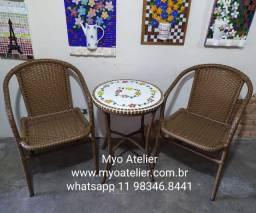 Título do anúncio: Conjunto mesa mosaico, moveis de fabrica, sob medida, mesa varanda