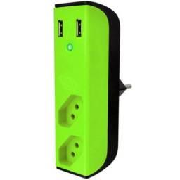 Título do anúncio: Filtro De Linha Extensão 2 Tomadas Com Carregador USB - Entrega Grátis