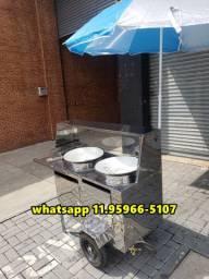 carrinho de pastel batata frituras em geral inox