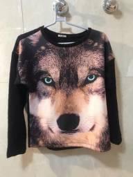 Camisa manga longa estampa de lobo