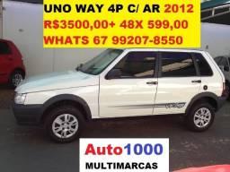 Uno Way 1.0 4P Com Ar Cond. 2012 R$3.000,00 + 48x 599,00 - 2012