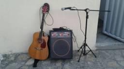 Kit de violao eletrico mais caixa amplificada R$800.00