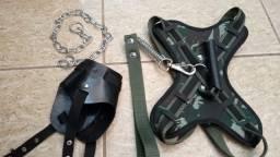 Kit 1 peitoral stillo + 1 focinheira de couro + 1 enforcador na cor camuflado